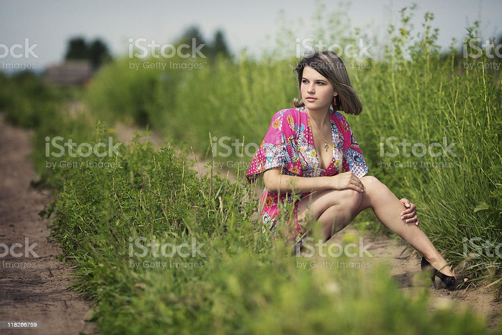 Lonely beautiful girl royalty-free stock photo
