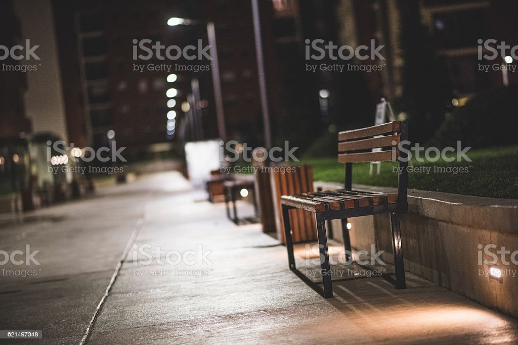 Lonely bench by the park at night foto stock royalty-free