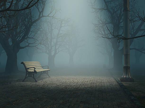 Einsam Bank in misty park – Foto