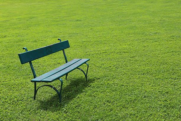 Einsam Bank auf kurze Schnitt Gras – Foto