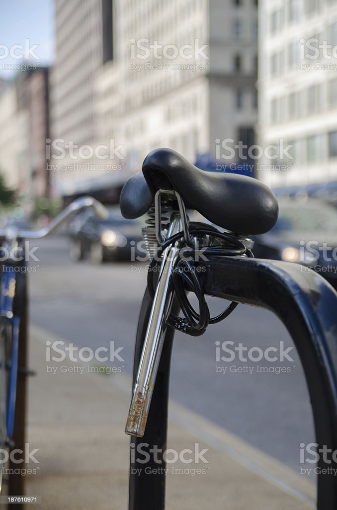 Lonely Bicycle Seat stock photo