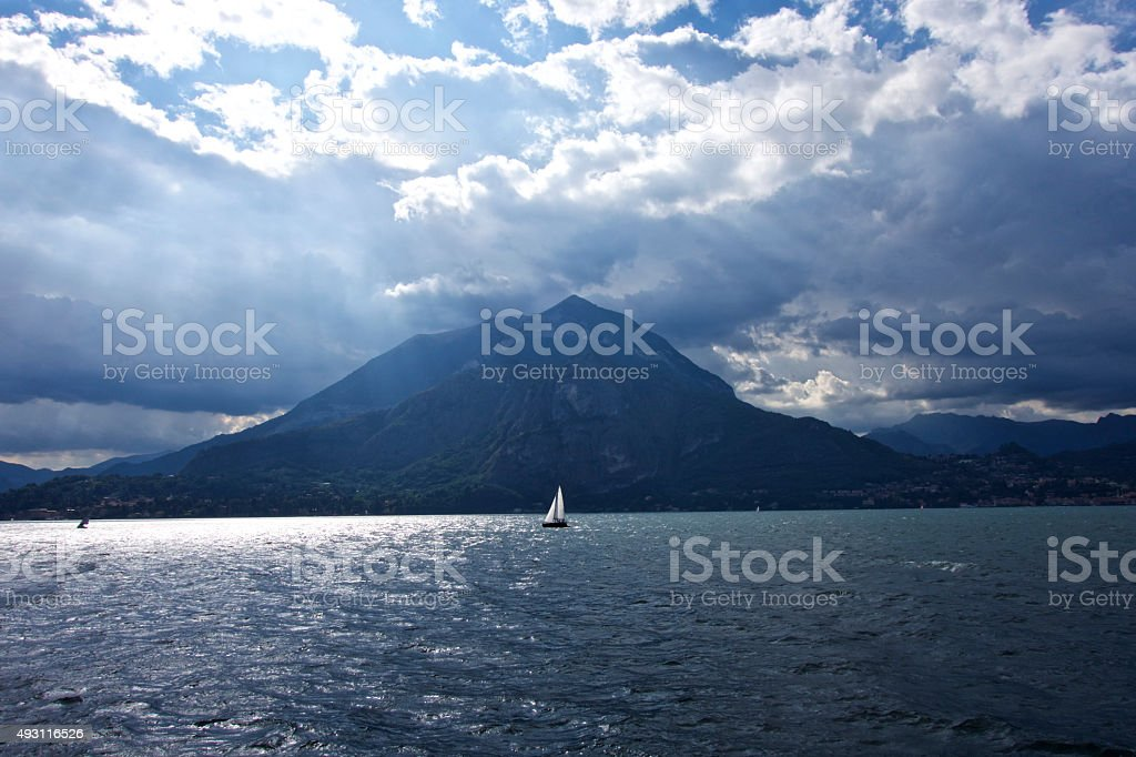Lonely boat on Lake Como stock photo