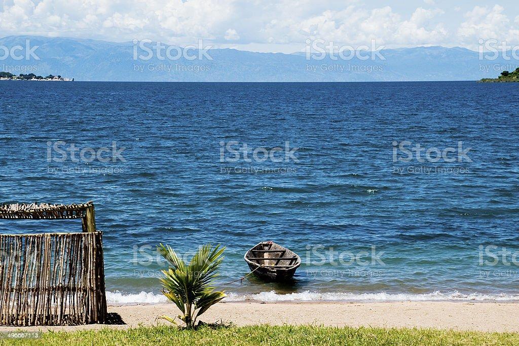 Lonely Boat on Lake Tanganyika stock photo