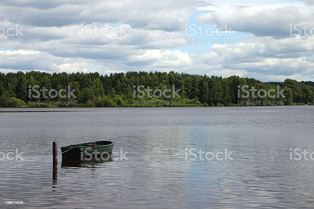 Lonely boat royalty-free stock photo