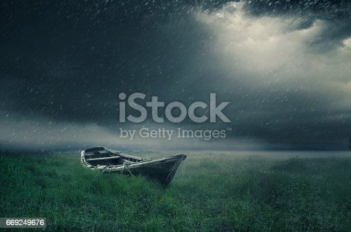 lonely boat on a rainy day