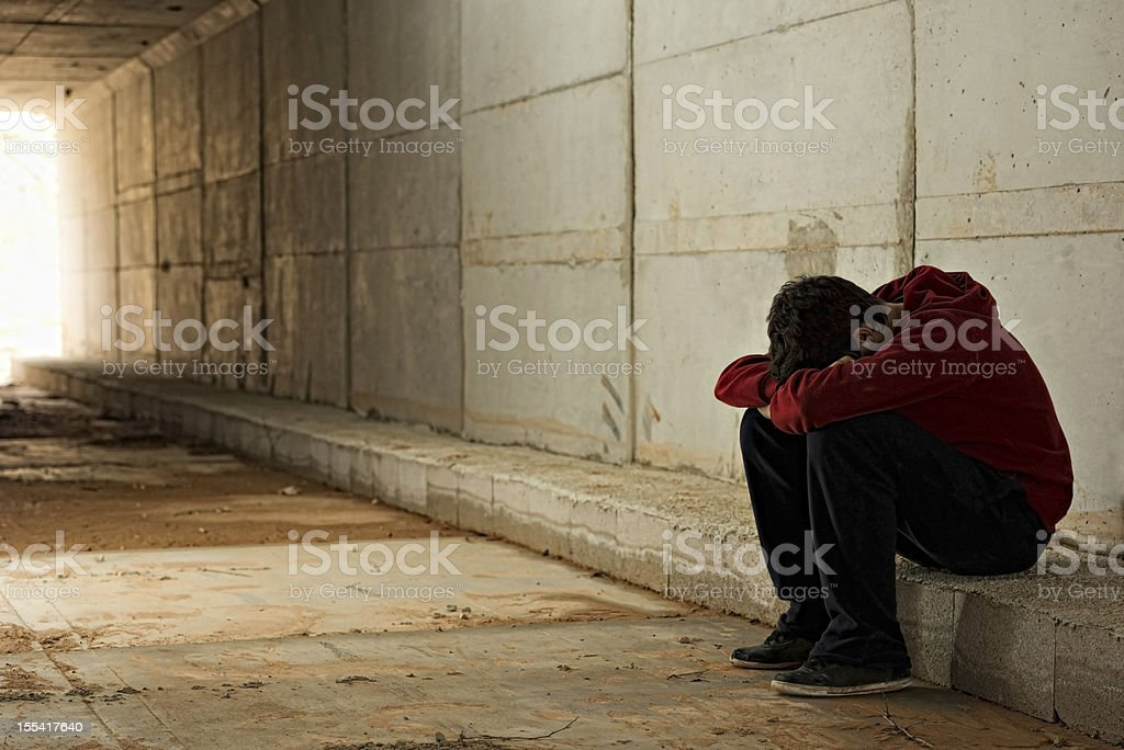 Lonely boy stock photo