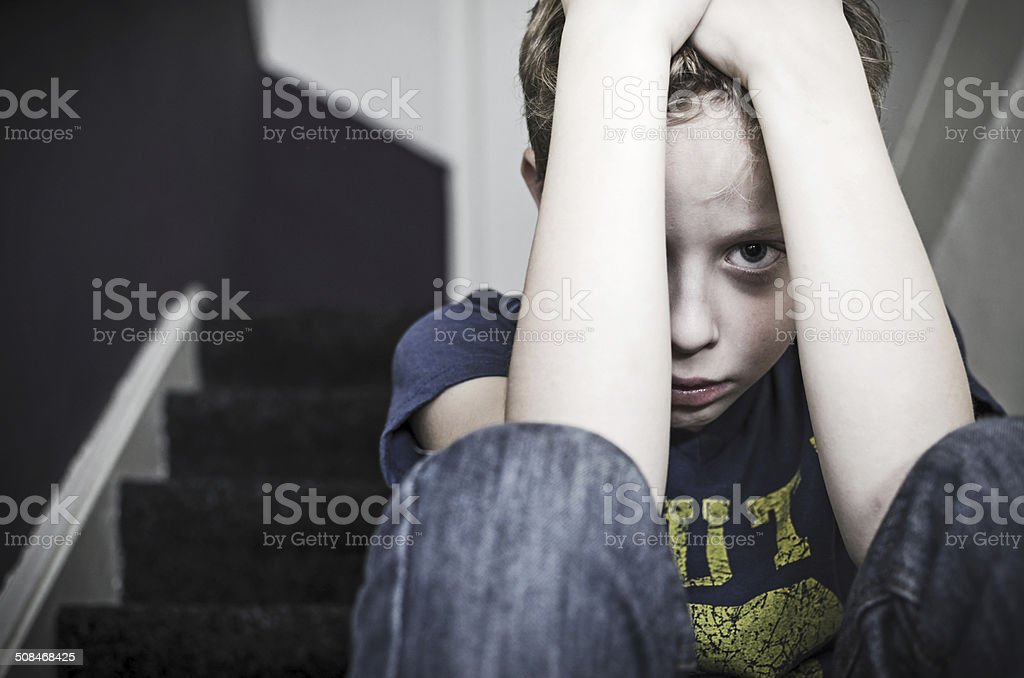 Lonely boy stock photo