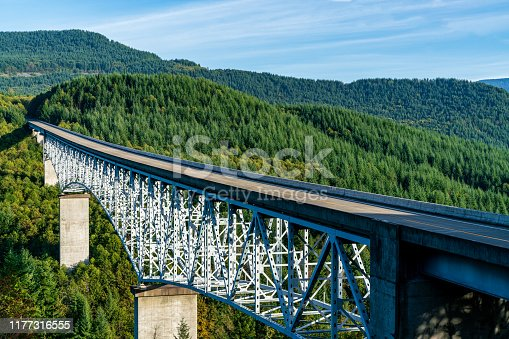 Bridge over Forested River Valley In Washington State, Unted Staes
