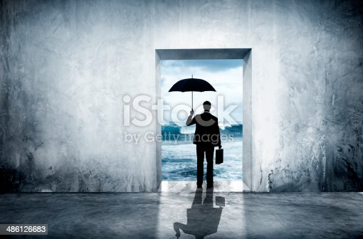 istock Lonely Businessman Facing Financial Depression 486126683