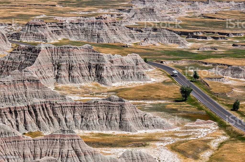 Lonely Campervan in Badlands National Park, South Dakota, USA stock photo