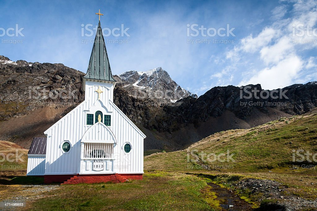 Lonely Church Grytviken South Georgia royalty-free stock photo