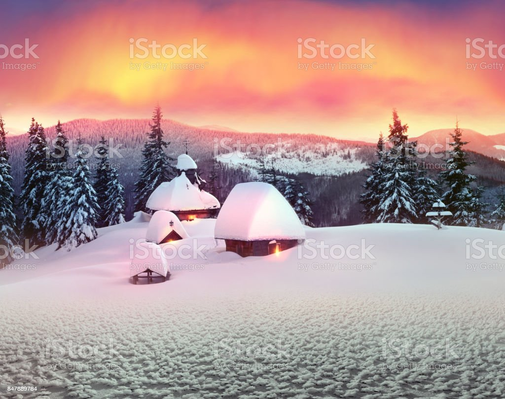 Lonely church in the wild mountains. stock photo