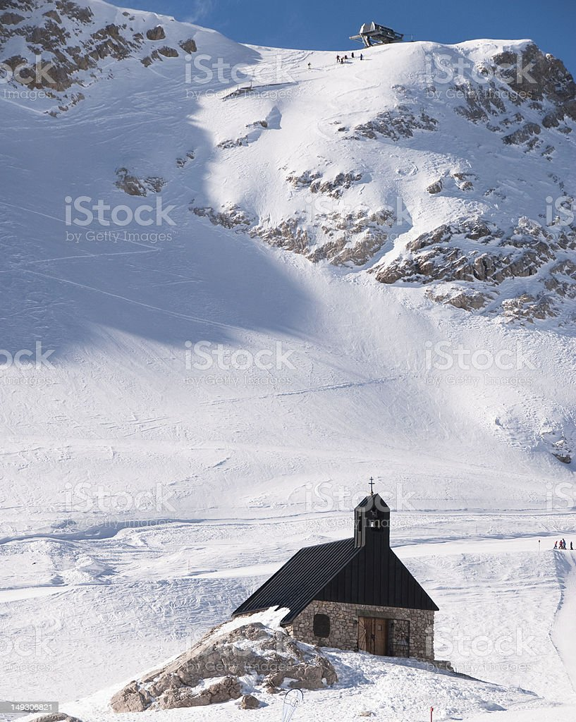 Lonely Church in the Zugspitze, Germany royalty-free stock photo