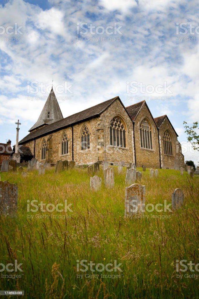 Lonely church surrounded by the dead. royalty-free stock photo
