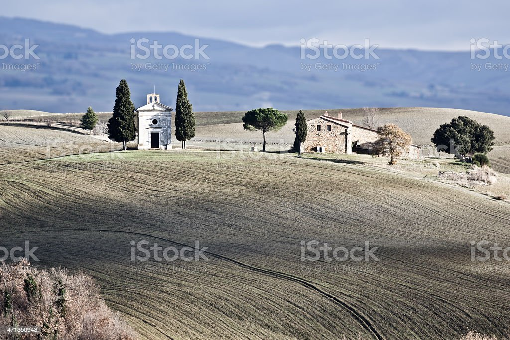 Lonely church, Val d'Orcia (Italy). stock photo