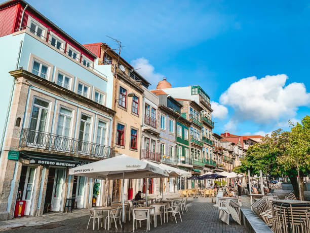 Lonely City Streets of Porto during COVID-19 in Summer 2020. stock photo
