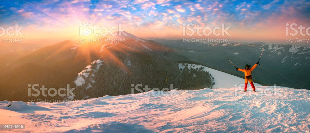 lonely climber in the cold stock photo