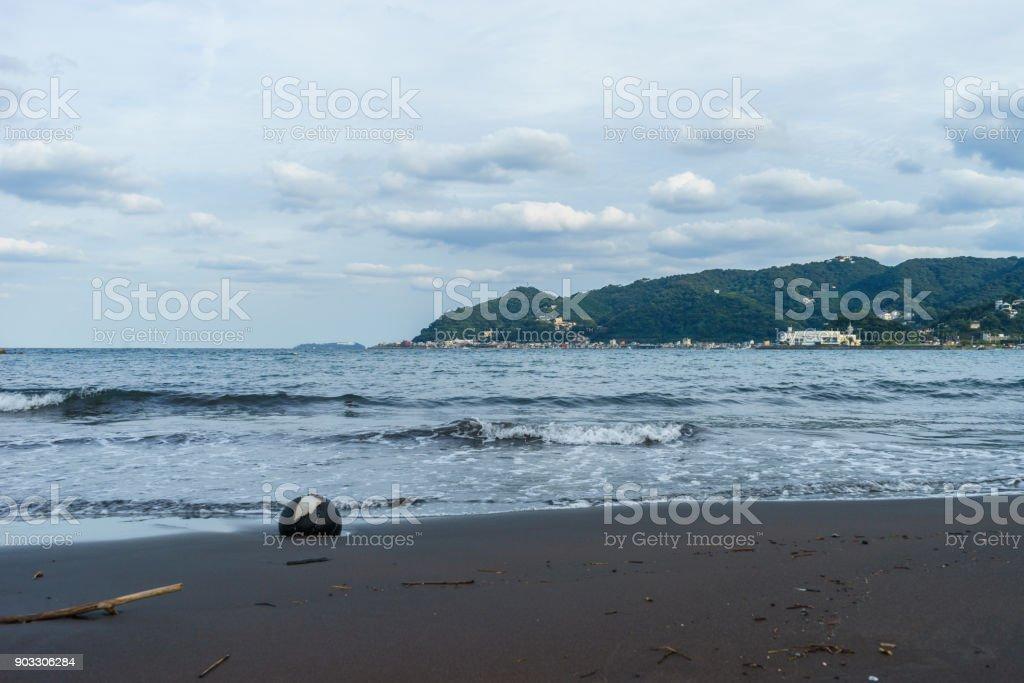 Lonely coast with buoy stock photo