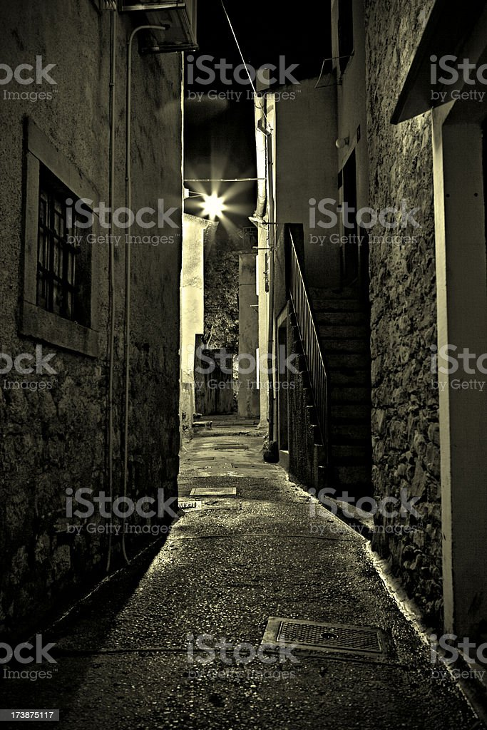 Lonely dark alley royalty-free stock photo
