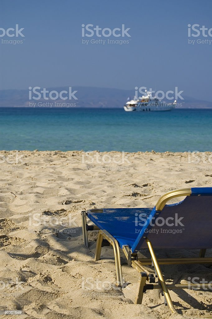 Lonely deck chair royalty-free stock photo