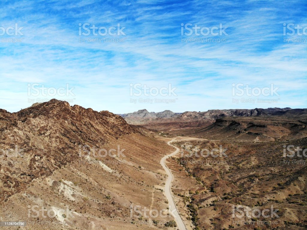 Lonely Desert Road - Aerial View stock photo