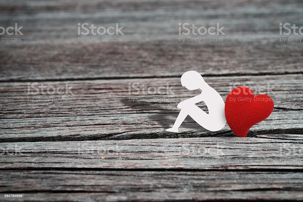 Lonely heart man stock photo