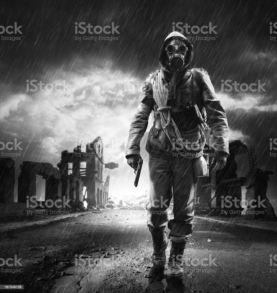 Lonely hero stock photo
