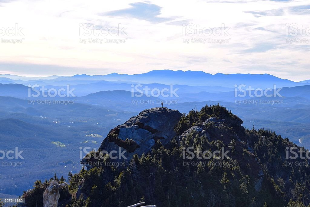 Lonely hiker in the Blue Ridge Mountains stock photo