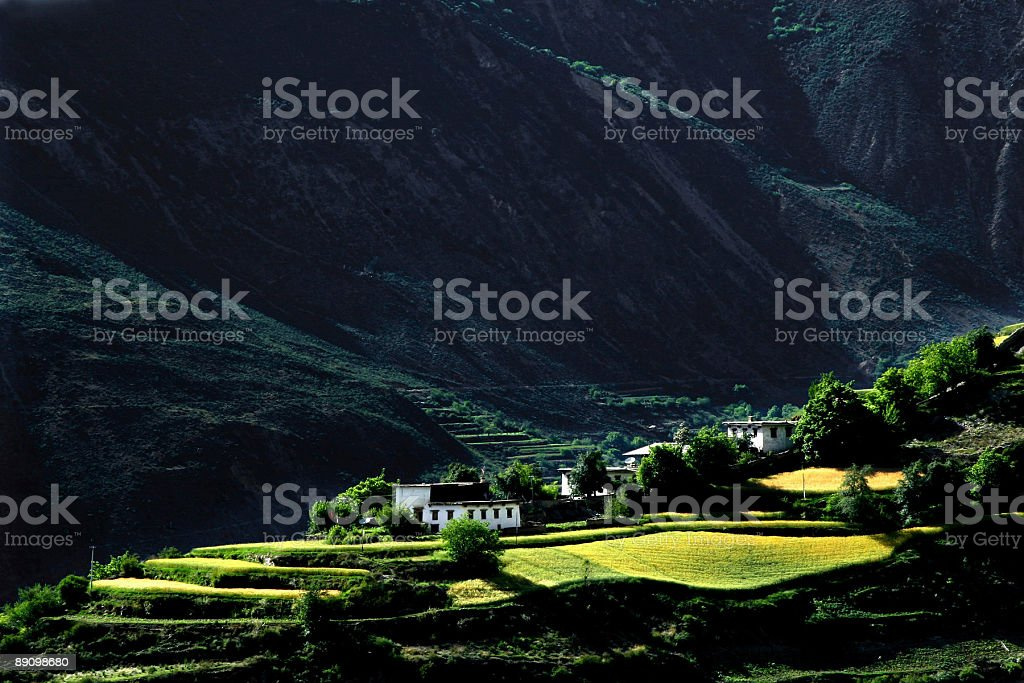 Lonely houses in a mountain royalty-free stock photo