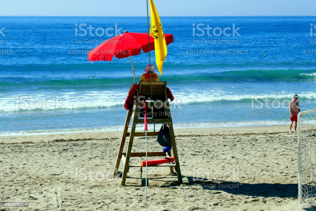 Lonely lifeguard, Benidorm, Spain. stock photo