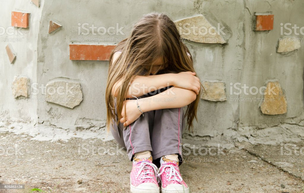 Lonely Little Girl Sitting Anxietyoutdoor Portrait Of A -9694
