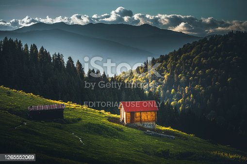 Idyllic nature landscape with old isolated lonely small wooden cottage hut surrounded with forest in the mountains in Gito Plateau, Rize, Black Sea Region, Turkey.