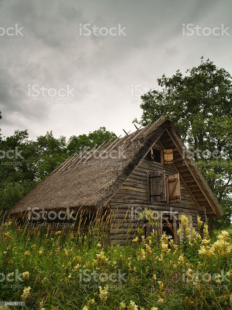 lonely loghouse stock photo