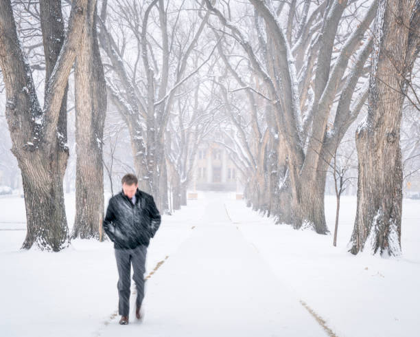 einsame männliche figur in einem schneesturm zu fuß - la union stock-fotos und bilder