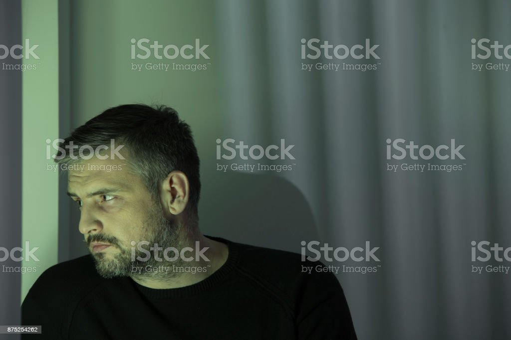 Lonely man addicted to cocaine stock photo