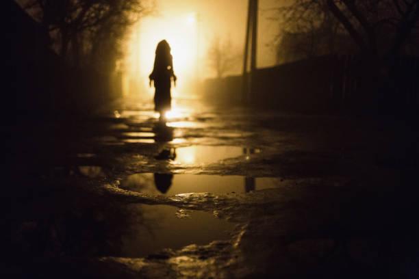 einsamer mann. stadt bei nacht im dichten nebel. dicken smog in einer dunklen straße. schöne mischlicht aus fenstern. silhouetten von menschen und bäumen. säulen an der road - plants of zombies stock-fotos und bilder