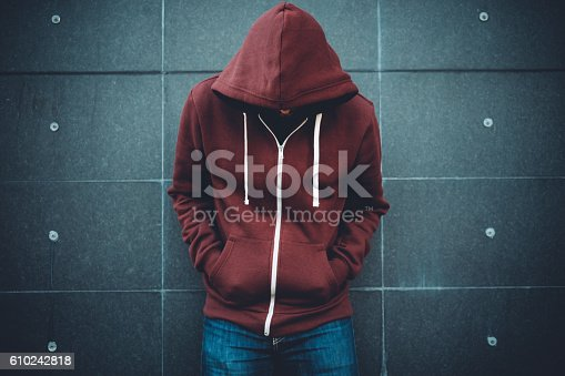 istock Lonely Man Leaning against an urban wall 610242818