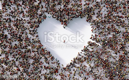 Lonely man in the middle of a white heart shaped void surrounded by people on white background. Horizontal composition with copy space. Loneliness concept.