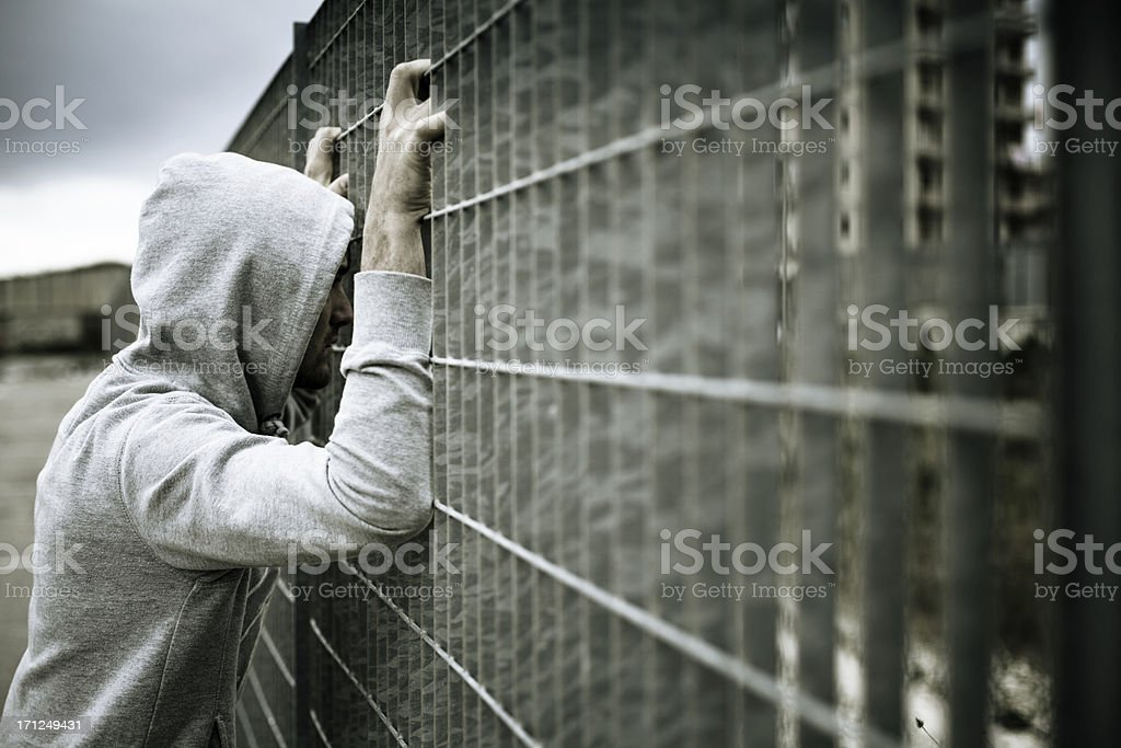 Lonely Man, No escape royalty-free stock photo