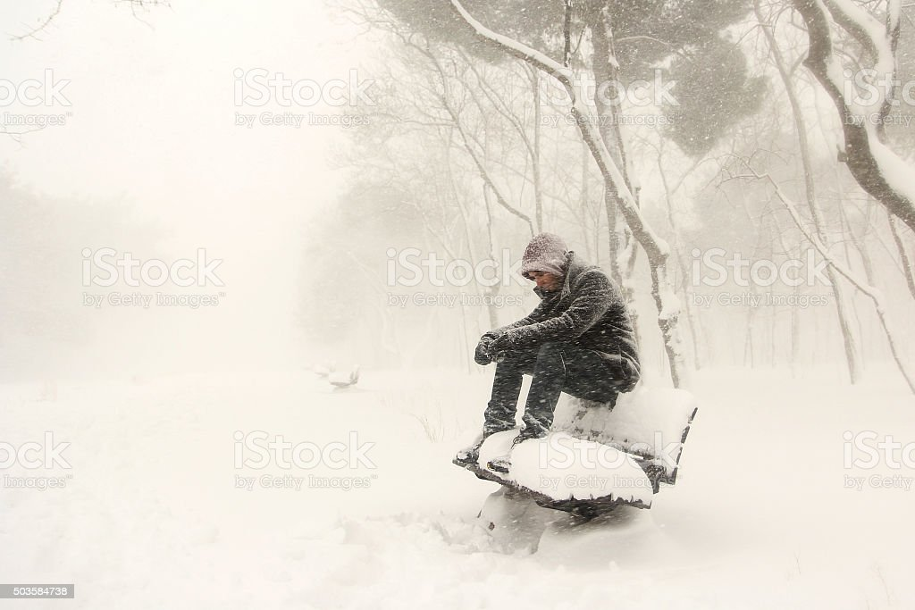 Lonely man stock photo