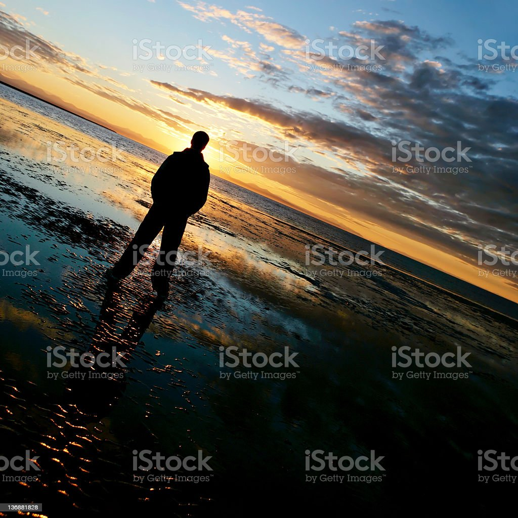 XL lonely man silhouette royalty-free stock photo
