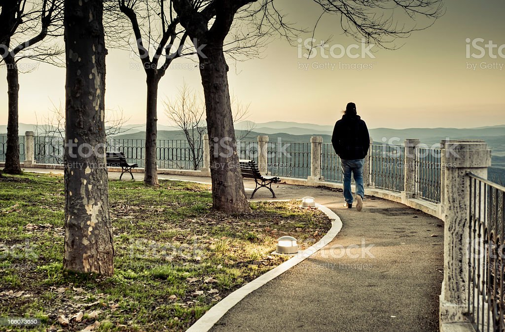 Lonely Man Walking In A Path, Montalcino, Tuscany royalty-free stock photo
