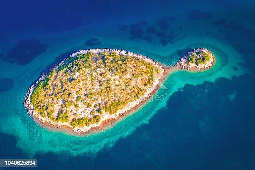 istock Lonely Mediterranean island aerial view, Zadar archipelago of Croatia 1040625894