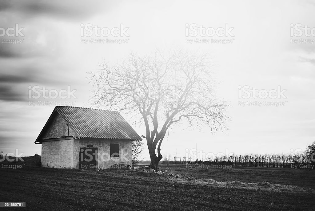 Lonely old house stock photo