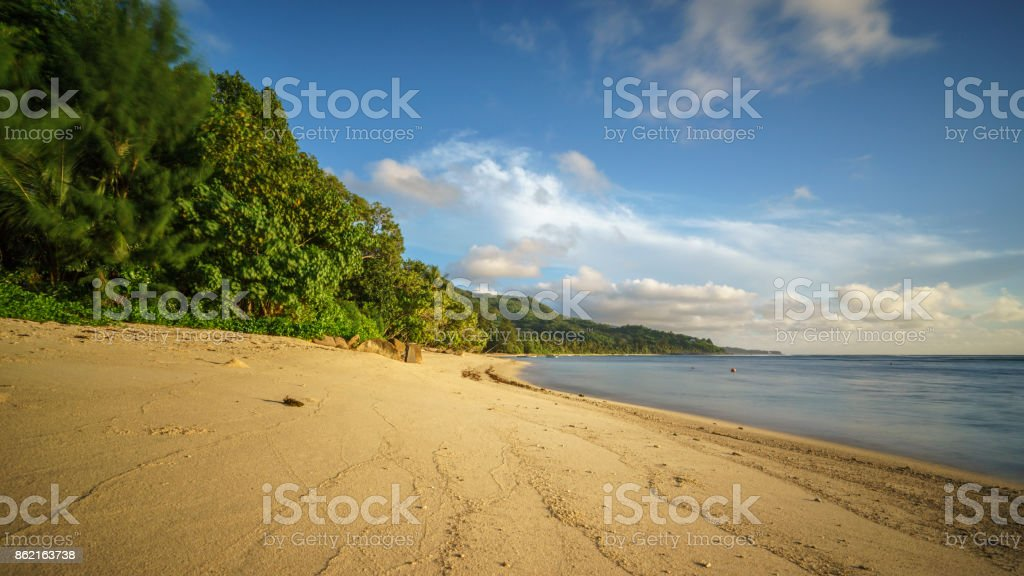 Lonely paradise beach on the seychelles stock photo