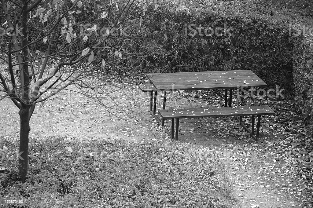 Lonely picnic table stock photo