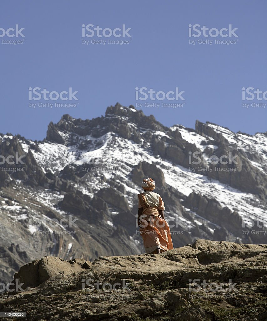 Lonely pilgrim in the Himalayas royalty-free stock photo