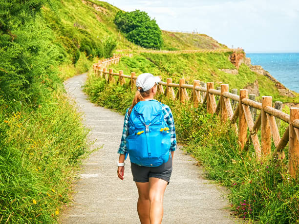 Lonely Pilgrim with backpack walking the Camino de Santiago in Spain, Way of St James Lonely Pilgrim with backpack walking the Camino de Santiago in Spain, Way of St James pilgrim stock pictures, royalty-free photos & images