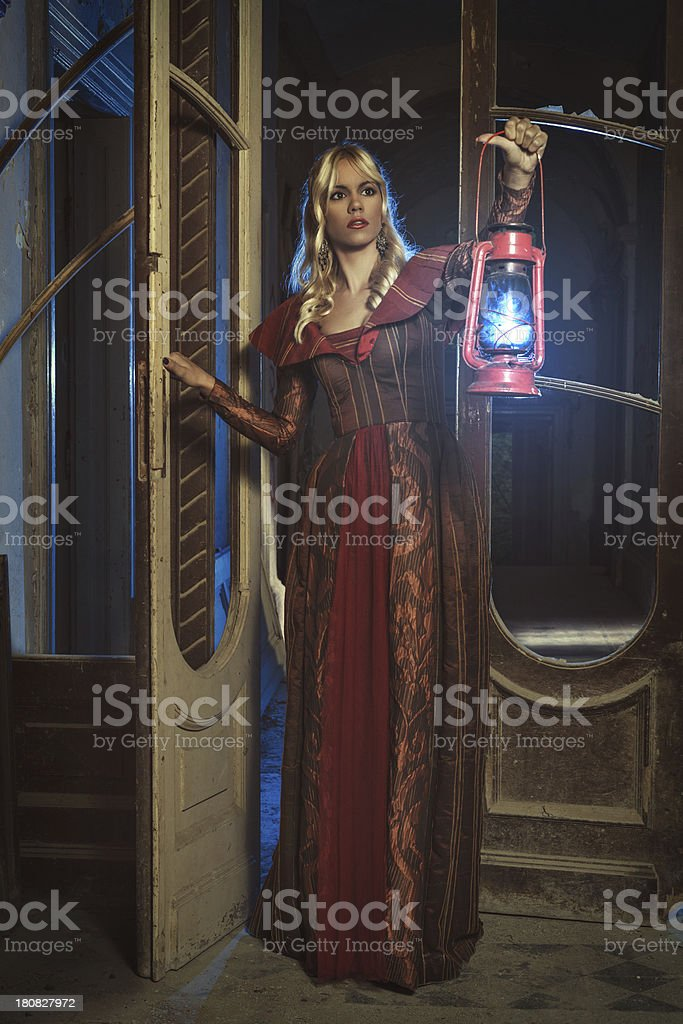 Lonely princess explores royalty-free stock photo