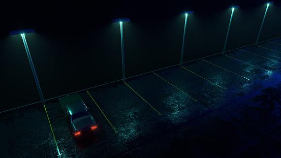 Lonely retro car on empty parking in the rain. Fog, rain, reflections. Cyberpunk wallpaper. 3d render illustration.